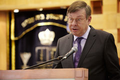 Ambassador of Germany in Russia Ulrich Brandenburg. MOSCOW - JAN 27: Ambassador of Germany in Russia Ulrich Brandenburg in moscow synagogue Beis Menachem  in Stock Image