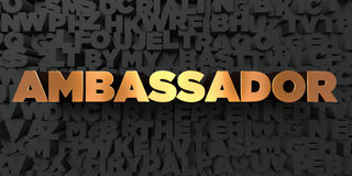 Ambassador - Gold text on black background - 3D rendered royalty free stock picture Stock Photo