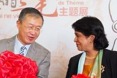 Ambassador osoby republika Chiny republika Mauritius, Mr Li Li mówi Mauritius prezydent republika Obraz Stock