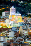 Ambato Cathedral By Night In Ecuador Stock Photography