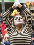 Ambato, Ecuador - Feb 15, 2015 - Mime performs for audience royalty free stock image