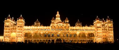 Mysore Palace at Night. Ambavilas Palace, otherwise famous as the Mysore Palace, is a historical palace and a royal residence at Mysore in the southern Karnataka Stock Photos