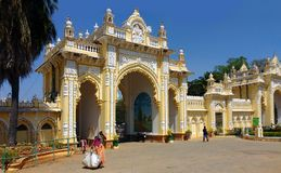 Main entrance gate Mysore palace. Ambavilas Palace, otherwise known as the Mysore Palace, is a historical palace and a royal residence at Mysore in the southern Stock Image