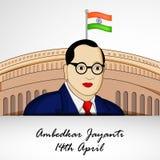 Ambedkar Jayanti background. Illustration of Dr. B. R. Ambedkar for Ambedkar Jayanti Royalty Free Stock Photo