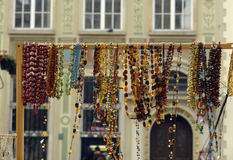 Amber. Stall from amber on old city in gdansk Royalty Free Stock Photo