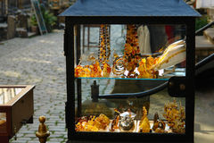 Amber-14. Stall from amber on old city in gdansk Royalty Free Stock Images