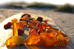 Set of diverse, multi-coloured, raw amber stock photo