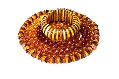 Amber accessories. Isolated in a white background Stock Images