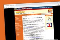 Amber Alert- - Staat-Justizministerium Sendungsnotfallschutz des vermissten Kindes lizenzfreie stockbilder