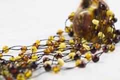 Amber beads Stock Photo