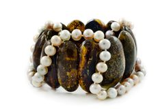Amber and beads necklace of pearl Royalty Free Stock Images