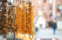 Amber beads for sale Royalty Free Stock Images