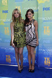 Amber Benson, Lucy Hale. LOS ANGELES - AUG 7:  Amber Benson, Lucy Hale arriving at the 2011 Teen Choice Awards at Gibson Amphitheatre on August 7, 2011 in Los Stock Photo