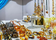 Amber bijouterie in the Vilnius Christmas market Stock Photo