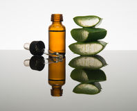 Amber bottle with aloe vera leaf cut into pieces and dropper Stock Photography
