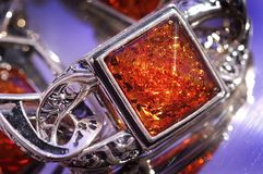 Amber bracelet. An amber bracelet in water from Poland close up Royalty Free Stock Photography