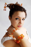 Amber bracelet and the hairpin Royalty Free Stock Images
