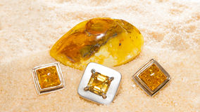 Amber cabochons set in jewllery Royalty Free Stock Image