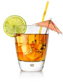 Amber cocktail in a glass Royalty Free Stock Photos