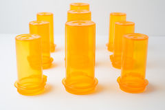 Amber-colored Prescription Drug Vials, on white, at f/11 Stock Images