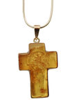 Amber Cross Jewelry. Old silver Necklace with amber cross pendant Royalty Free Stock Photography