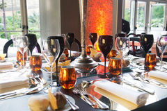 Amber, Crystal and Silver Table Decoration Royalty Free Stock Photos