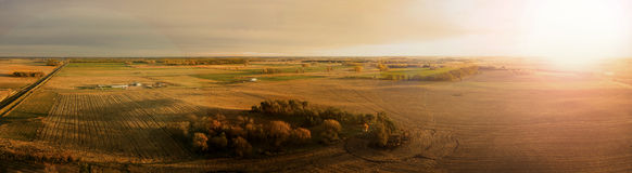 Amber Dawn. Autumn Sunrise Panoramic over South Dakota farm land Royalty Free Stock Photography