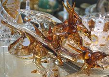 Amber dragons in shop display in Prague Stock Photo