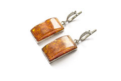 Amber earrings Stock Images