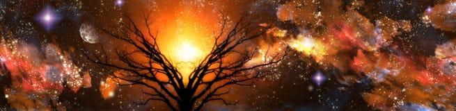 Amber fantasy landscape stock photo