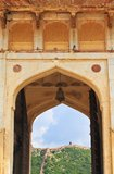 Amber Fort. The view of Jaigarh Fort from Amber Fort entrance gate. The Amer Fort is also popularly known as the Amer Palace.Amer Fort was built by Raja Man stock images