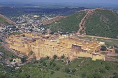 Amber Fort. Large fortified building. Ancient home to the Maharajah of Jaipur.  Rajasthan, India Stock Photography