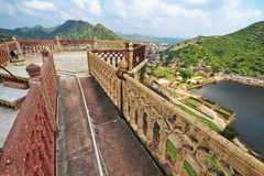 Amber Fort Balcony. Beautiful view of Jaipur city and Maota Lake from top balcony of Amber fort. Jaipur,Rajasthan stock image