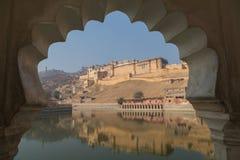 Amber Fort in de staat van Rajasthan van India stock afbeelding