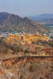 Amber Fort and defensive walls of Jaigarh Fort in Rajasthan, Ind Royalty Free Stock Image