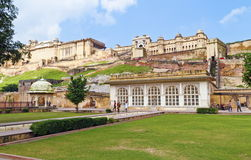 Amber Fort Entrance. Beautiful view of Amber fort entrance garden at Amer,Jaipur,Rajasthan. The Amer Fort is also popularly known as the Amer Palace. Amer Fort stock photos