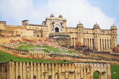 Amber Fort At Jaipur. Beautiful view of Amber fort at Amer, Jaipur, Rajasthan. The Amer Fort is also popularly known as the Amer Palace. Amer Fort was built by stock photography