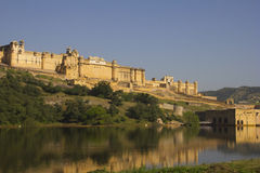 Amber Fort at Jaipur, India. Amber Fort is located in Amer (a town with an area of 4 square kilometres (1.5 sq mi)[1]), 11 kilometres (6.8 mi) from Jaipur royalty free stock photography
