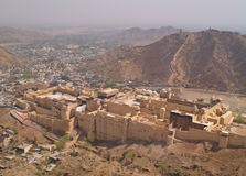 Amber Fort, Jaipur, India. Located in Amber, 11 km from Jaipur, Rajasthan state, India. It was the ancient citadel of the ruling Kachhawa clan of Amber, before Stock Photography