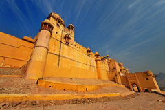 The amber fort in jaipur,rajasthan,india. The ramparts and battlements of the amber fort in rajasthan,india Stock Image