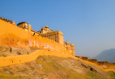 Amber Fort, Jaipur, Rajasthan, India. The red sandstone walls of Amer Fort along the mountain Royalty Free Stock Image