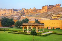 Amber Fort near Jaipur in Rajasthan, India. Amber Fort is the main tourist attraction in the Jaipur area stock image