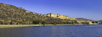 Amber Fort Panorama with his reflection Royalty Free Stock Image
