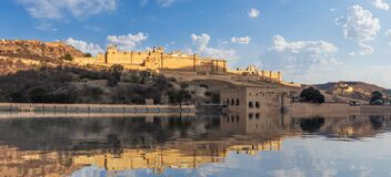 Amber Fort panorama, view from the lake, Jaipur, India