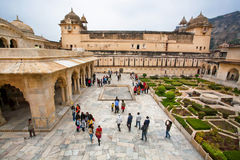 Amber Fort and people walking around the historical palaces Stock Photography