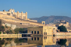 Amber fort reflection over the lake, Jaipur Royalty Free Stock Images