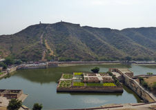 Amber Fort: the Saffron Garden in Lake Maota. View of Lake Maota from the fort, with the saffron garden design in the Persian charbagh style Stock Photos