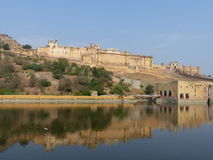 Amber Fort seen across Maota Lake. View of Amber Fort from the far side of Maota Lake Royalty Free Stock Photo