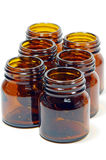 The Amber Glass Bottles. Royalty Free Stock Photography