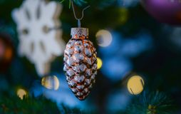 Amber Glass Pine Cone Ornament Stock Images